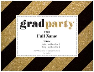Gold Wedding Invitations Graduation Party