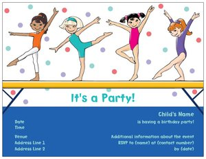 Gymnastics birthday party invitations vistaprint gymnastics birthday party invitations stopboris Image collections