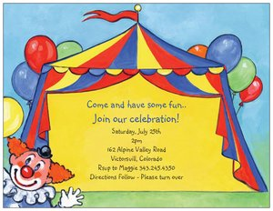 Circus Birthday Invitations Vistaprint - Birthday invitation cards circus
